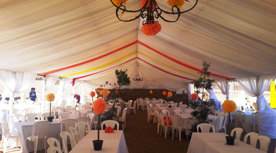 Marquee 9m & Drapes With Colour Strips & Hiback Chairs